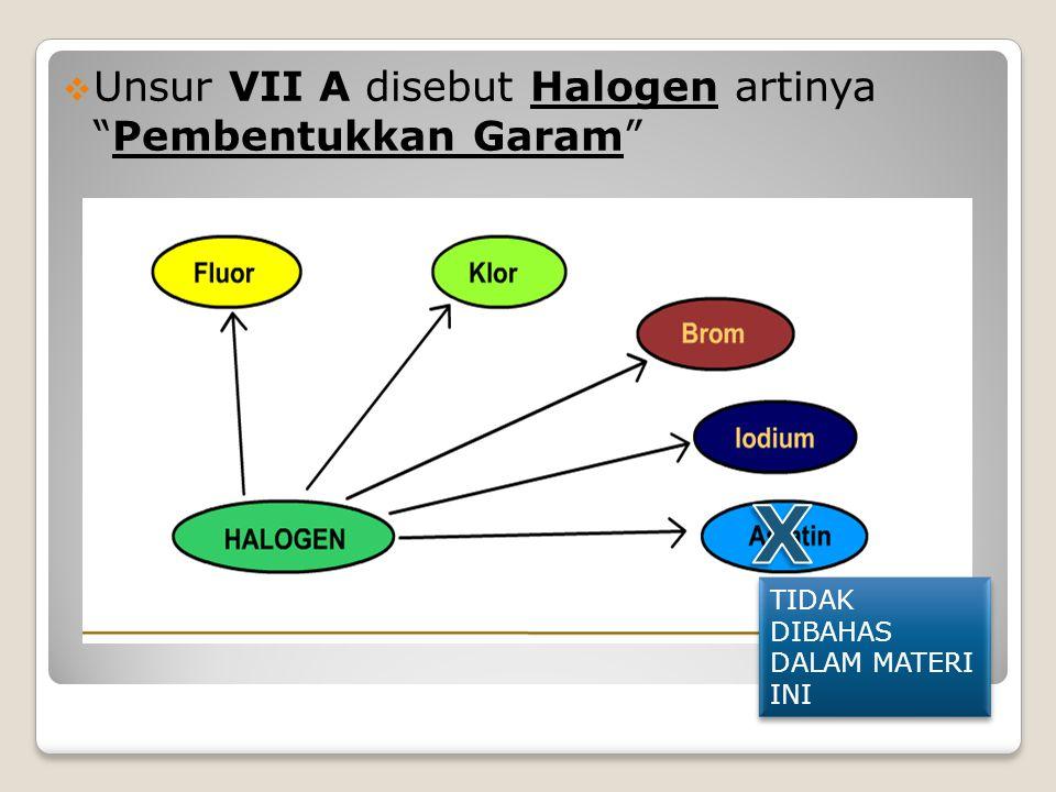 X Unsur VII A disebut Halogen artinya Pembentukkan Garam