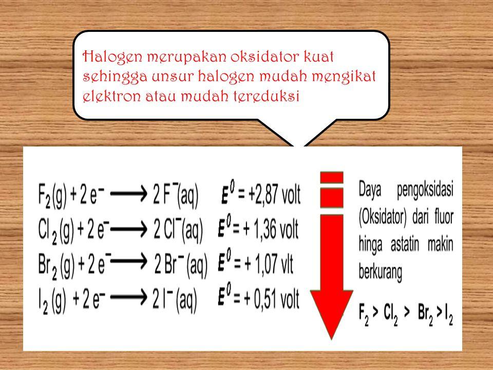 Halogen merupakan oksidator kuat sehingga unsur halogen mudah mengikat elektron atau mudah tereduksi