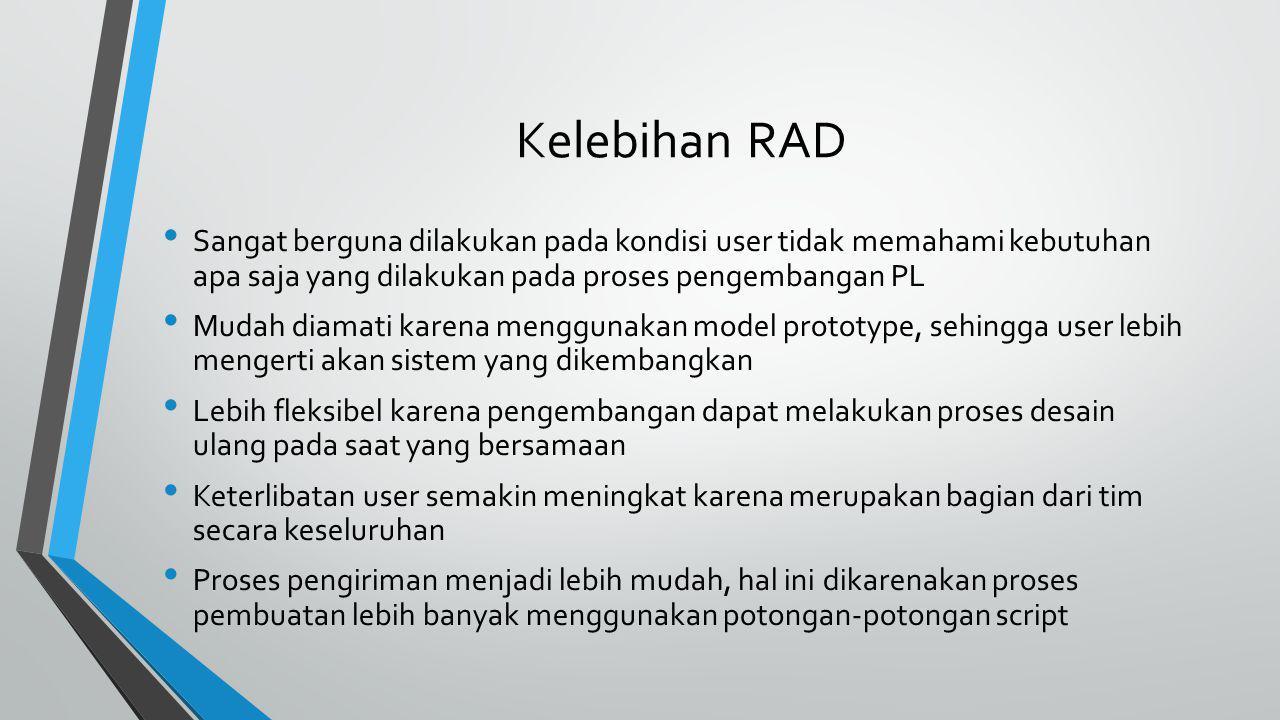 Kelebihan RAD Sangat berguna dilakukan pada kondisi user tidak memahami kebutuhan apa saja yang dilakukan pada proses pengembangan PL.