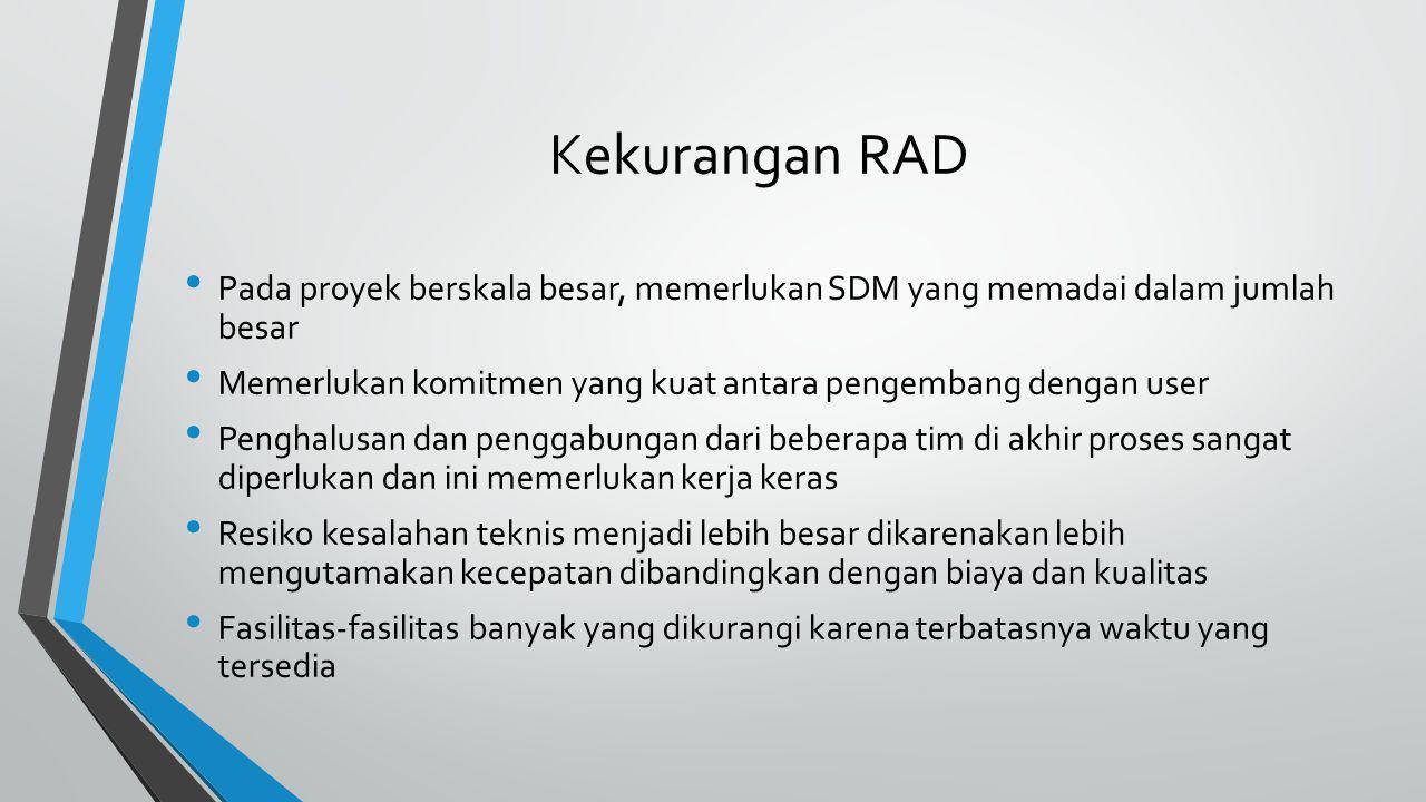 Kekurangan RAD Pada proyek berskala besar, memerlukan SDM yang memadai dalam jumlah besar.