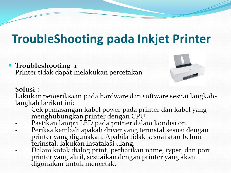 TroubleShooting pada Inkjet Printer