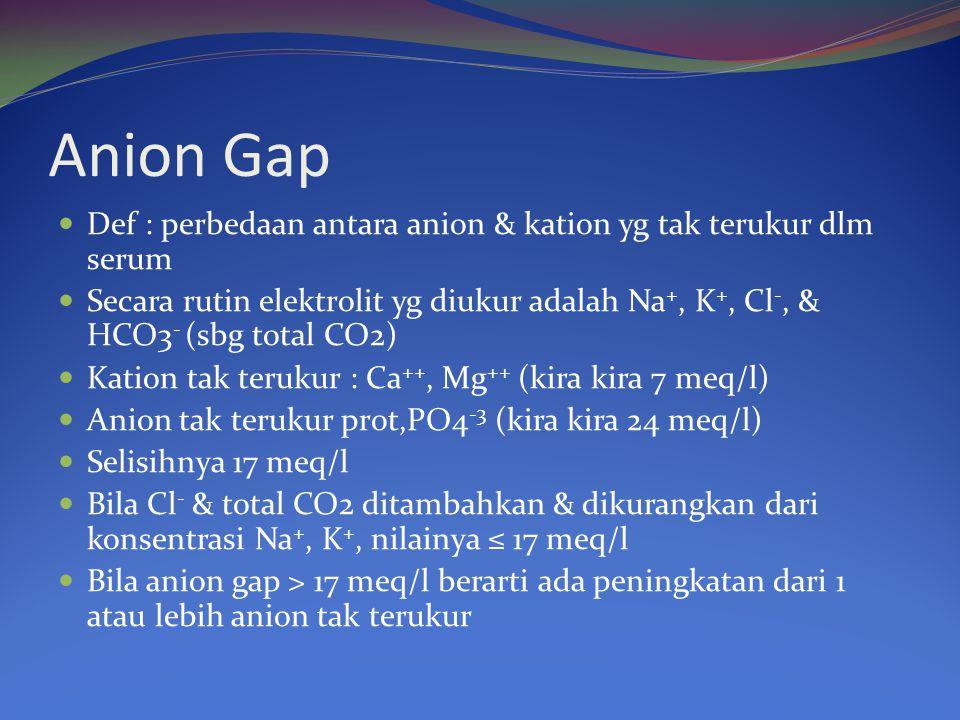 Anion Gap Def : perbedaan antara anion & kation yg tak terukur dlm serum.