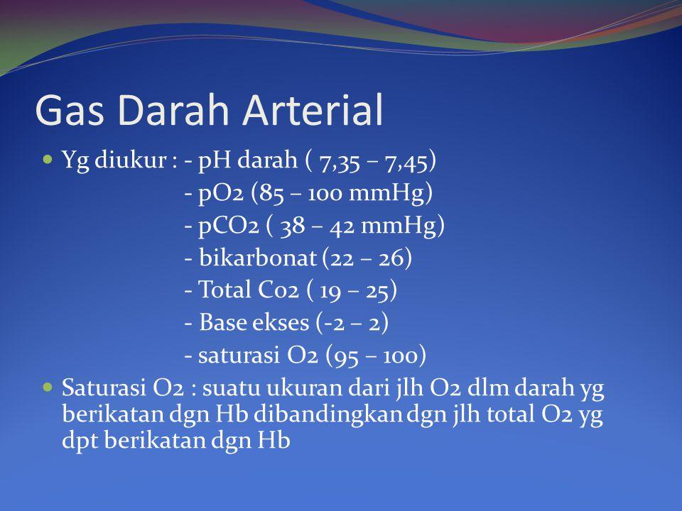 Gas Darah Arterial Yg diukur : - pH darah ( 7,35 – 7,45)