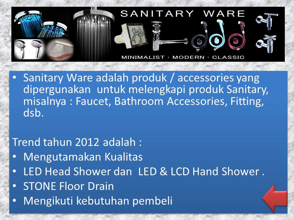Sanitary Ware adalah produk / accessories yang dipergunakan untuk melengkapi produk Sanitary, misalnya : Faucet, Bathroom Accessories, Fitting, dsb.