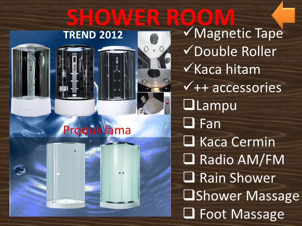SHOWER ROOM Magnetic Tape Double Roller Kaca hitam ++ accessories