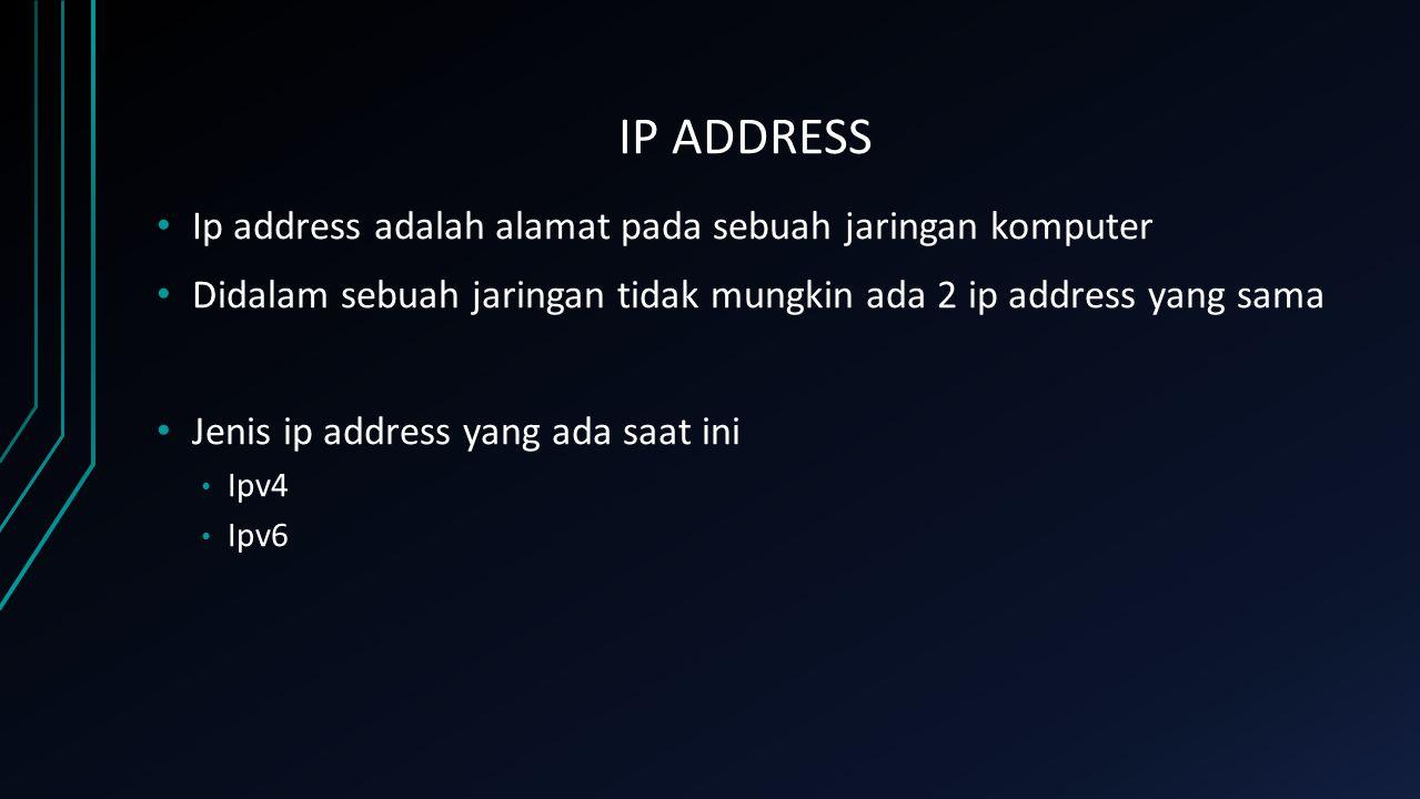 IP ADDRESS Ip address adalah alamat pada sebuah jaringan komputer