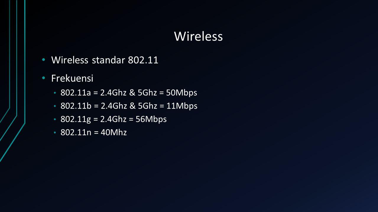 Wireless Wireless standar 802.11 Frekuensi