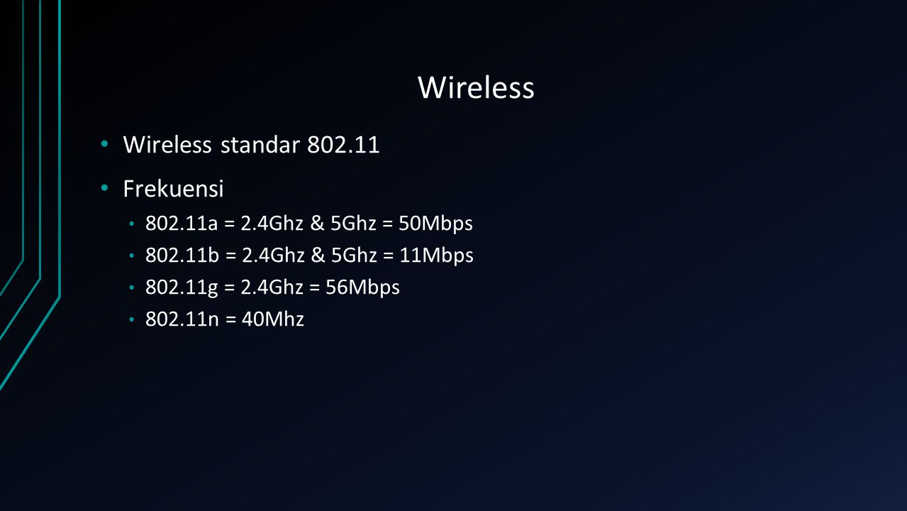Wireless Wireless standar Frekuensi