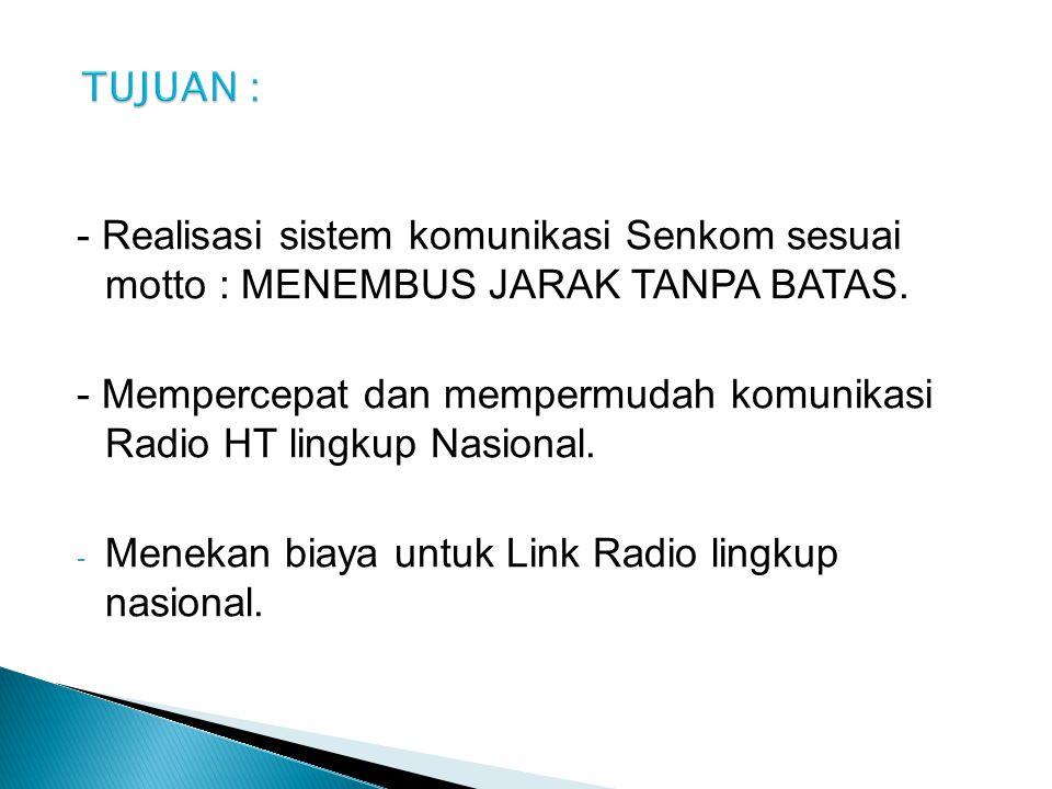 TUJUAN : - Realisasi sistem komunikasi Senkom sesuai motto : MENEMBUS JARAK TANPA BATAS.