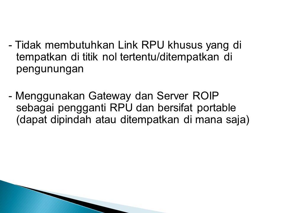 - Tidak membutuhkan Link RPU khusus yang di tempatkan di titik nol tertentu/ditempatkan di pengunungan