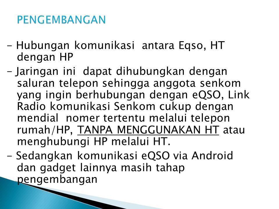 PENGEMBANGAN - Hubungan komunikasi antara Eqso, HT dengan HP.