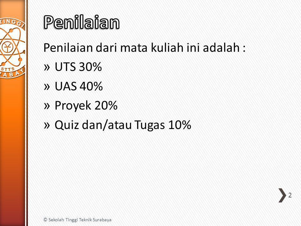 Penilaian Penilaian dari mata kuliah ini adalah : UTS 30% UAS 40%
