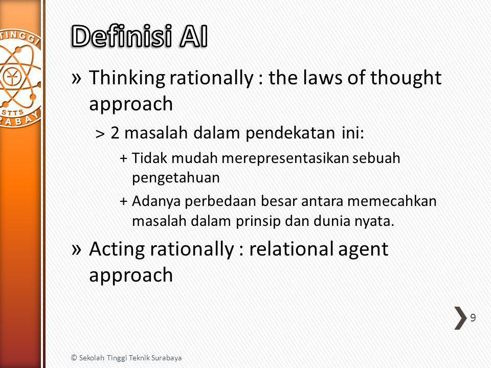 Definisi AI Thinking rationally : the laws of thought approach