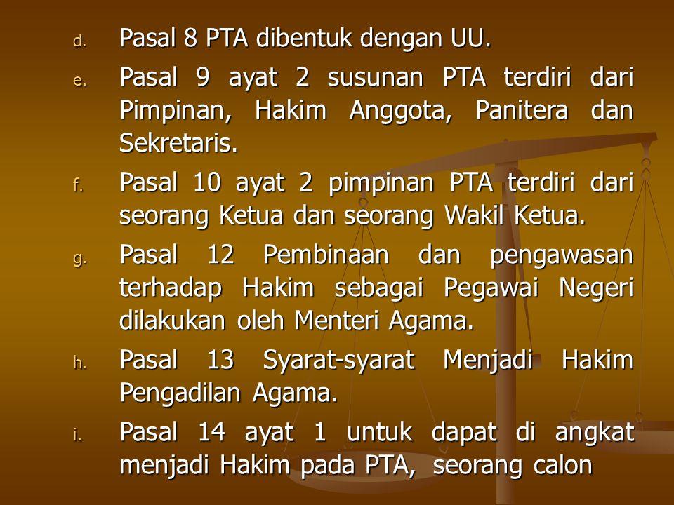 Pasal 13 Syarat-syarat Menjadi Hakim Pengadilan Agama.
