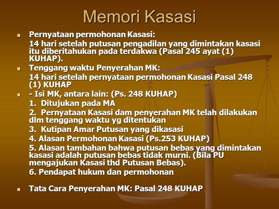 Memori Kasasi Pernyataan permohonan Kasasi: