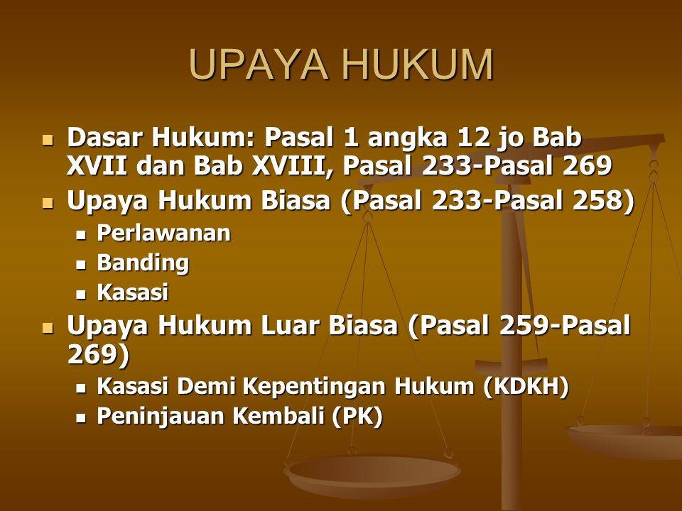 UPAYA HUKUM Dasar Hukum: Pasal 1 angka 12 jo Bab XVII dan Bab XVIII, Pasal 233-Pasal 269. Upaya Hukum Biasa (Pasal 233-Pasal 258)