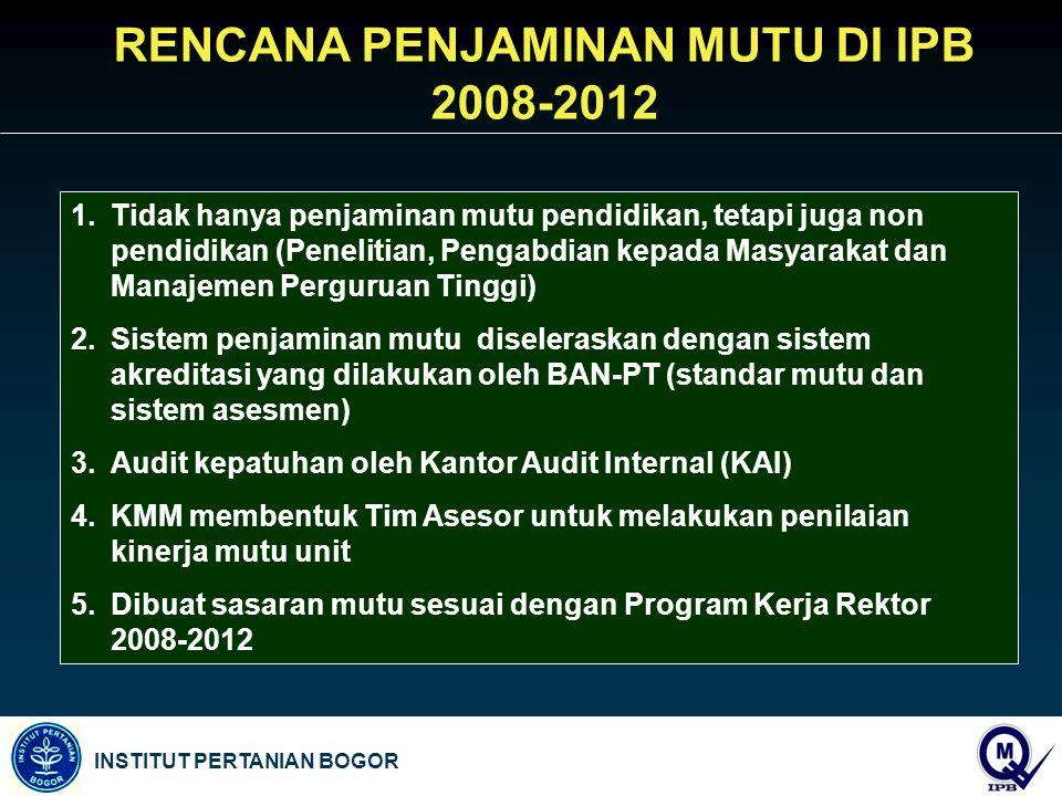 RENCANA PENJAMINAN MUTU DI IPB 2008-2012