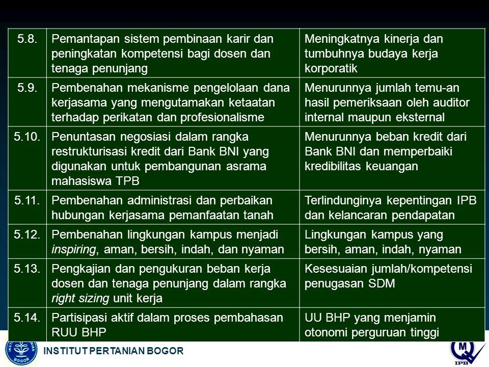 5.8. Pemantapan sistem pembinaan karir dan peningkatan kompetensi bagi dosen dan tenaga penunjang.