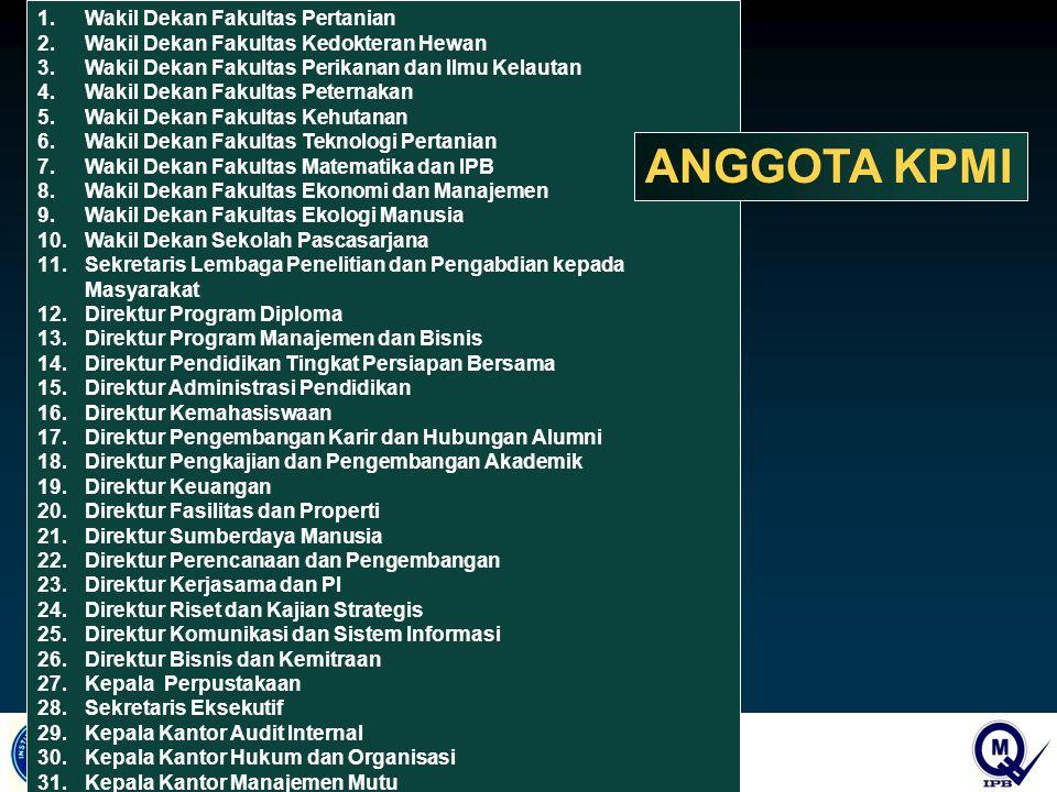 ANGGOTA KPMI Wakil Dekan Fakultas Pertanian