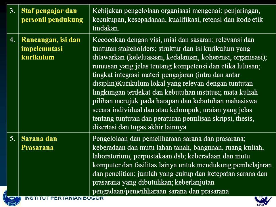 3. Staf pengajar dan personil pendukung.