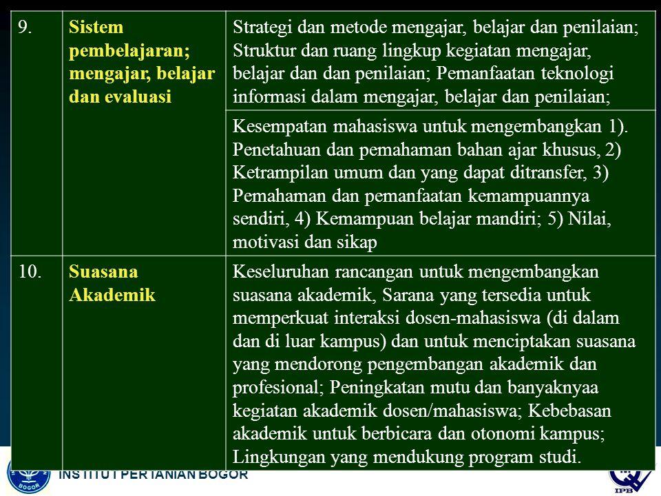 9. Sistem pembelajaran; mengajar, belajar dan evaluasi.