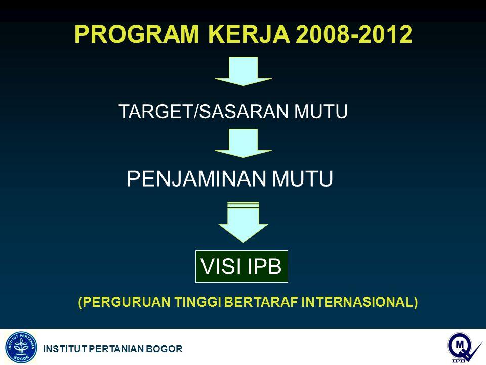 PROGRAM KERJA 2008-2012 PENJAMINAN MUTU VISI IPB TARGET/SASARAN MUTU