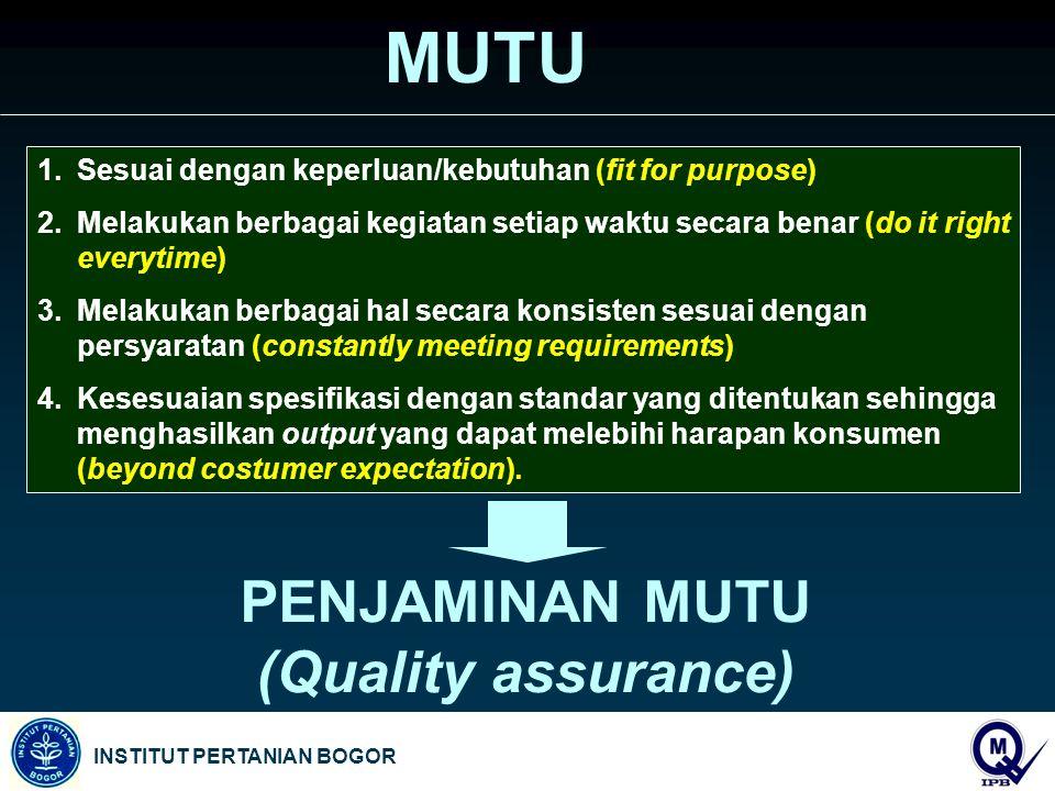 MUTU PENJAMINAN MUTU (Quality assurance)