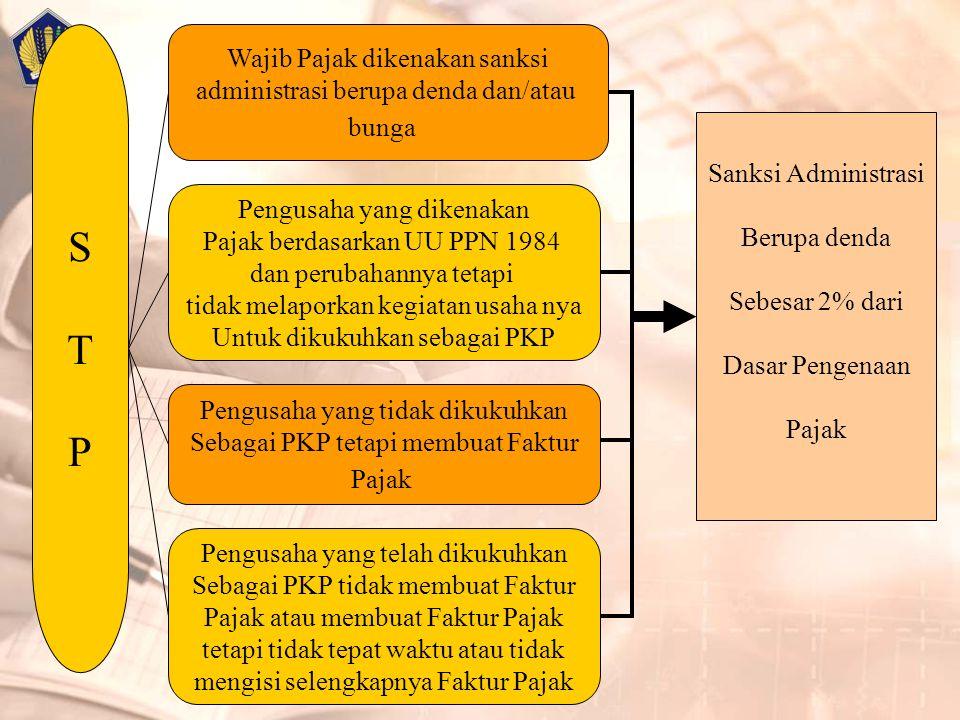 S T P Wajib Pajak dikenakan sanksi administrasi berupa denda dan/atau