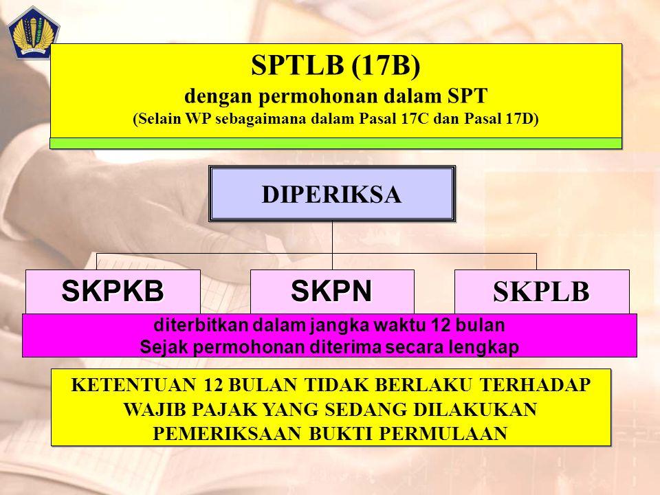 SPTLB (17B) dengan permohonan dalam SPT (Selain WP sebagaimana dalam Pasal 17C dan Pasal 17D)