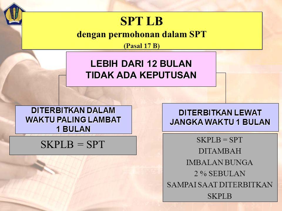 SPT LB dengan permohonan dalam SPT