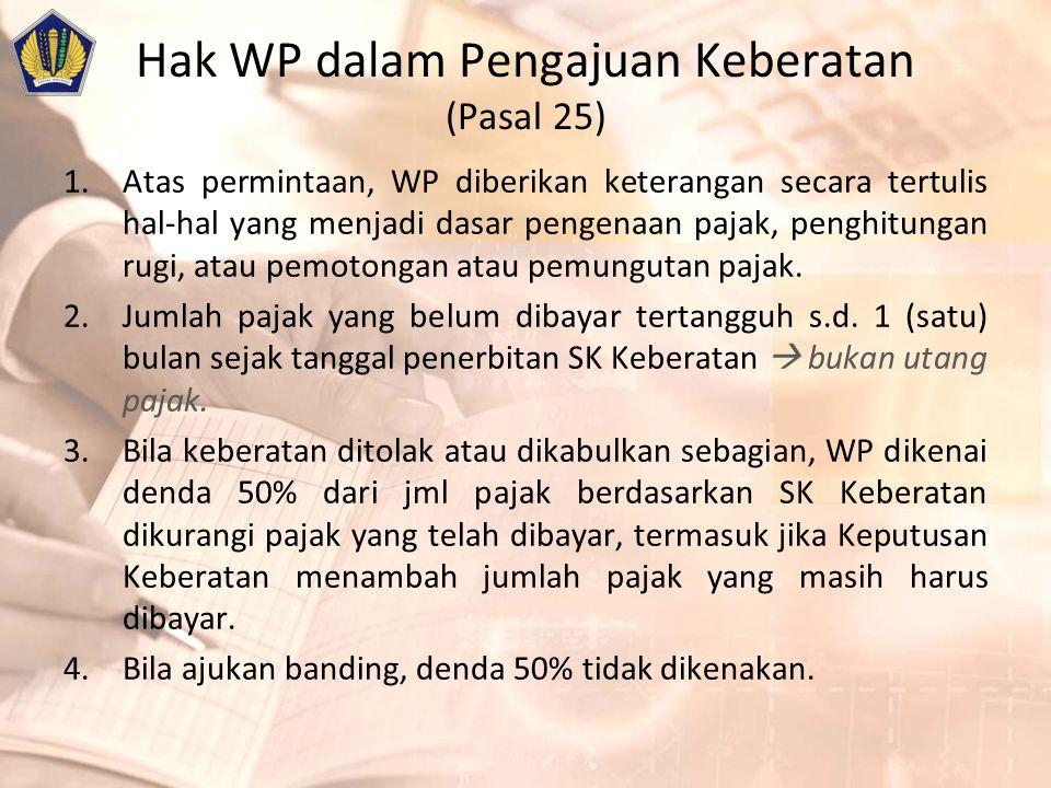 Hak WP dalam Pengajuan Keberatan (Pasal 25)