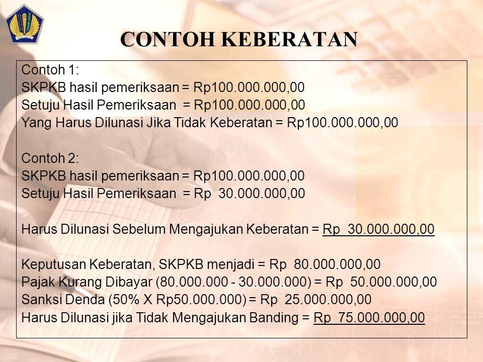 CONTOH KEBERATAN Contoh 1: SKPKB hasil pemeriksaan = Rp100.000.000,00