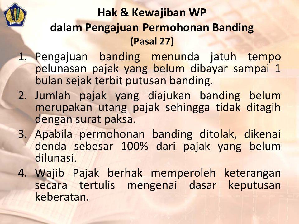 Hak & Kewajiban WP dalam Pengajuan Permohonan Banding (Pasal 27)
