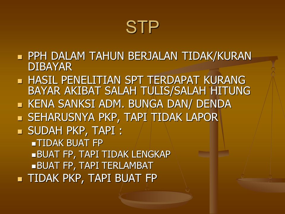 STP PPH DALAM TAHUN BERJALAN TIDAK/KURAN DIBAYAR