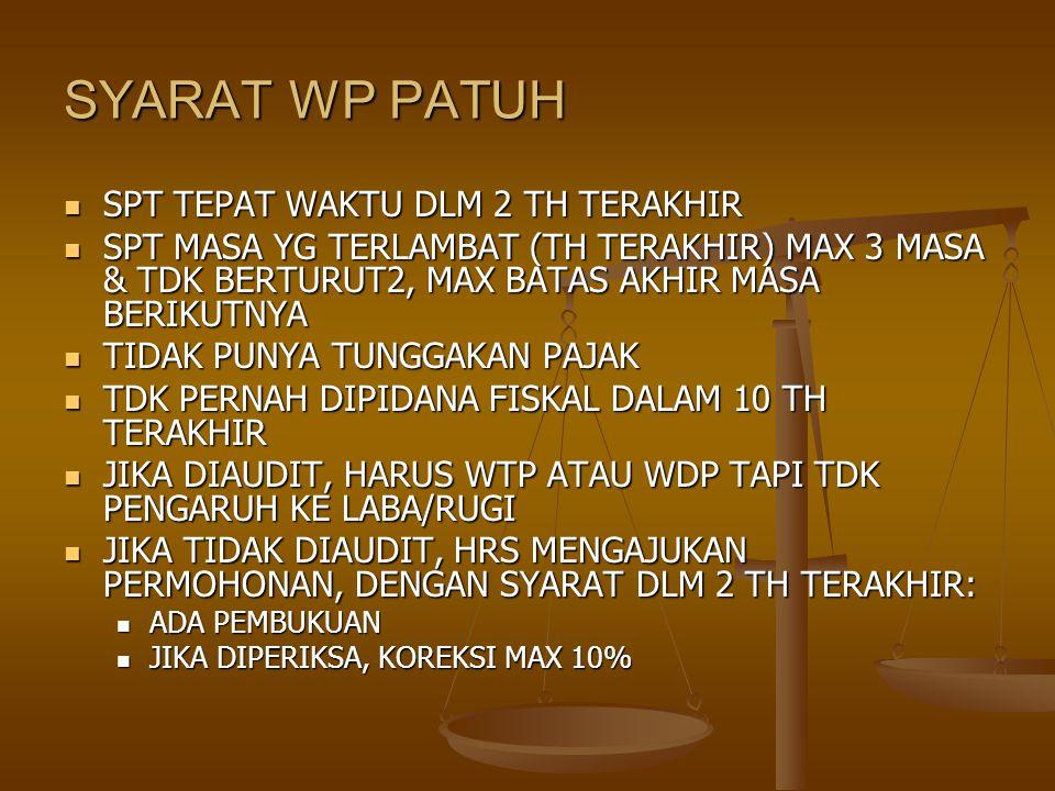 SYARAT WP PATUH SPT TEPAT WAKTU DLM 2 TH TERAKHIR