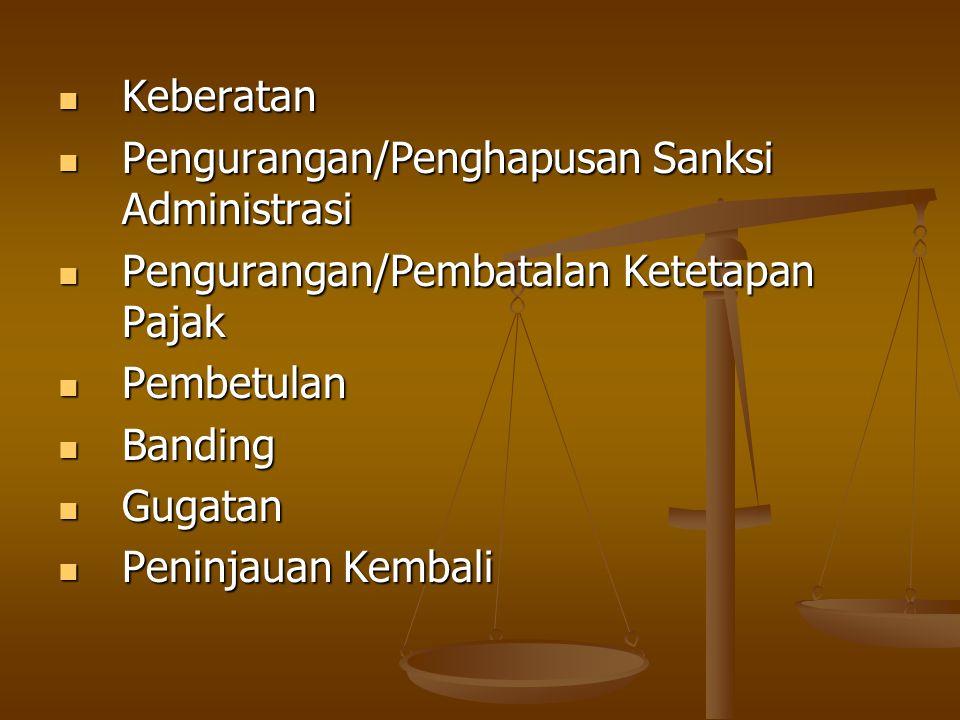 Keberatan Pengurangan/Penghapusan Sanksi Administrasi. Pengurangan/Pembatalan Ketetapan Pajak. Pembetulan.