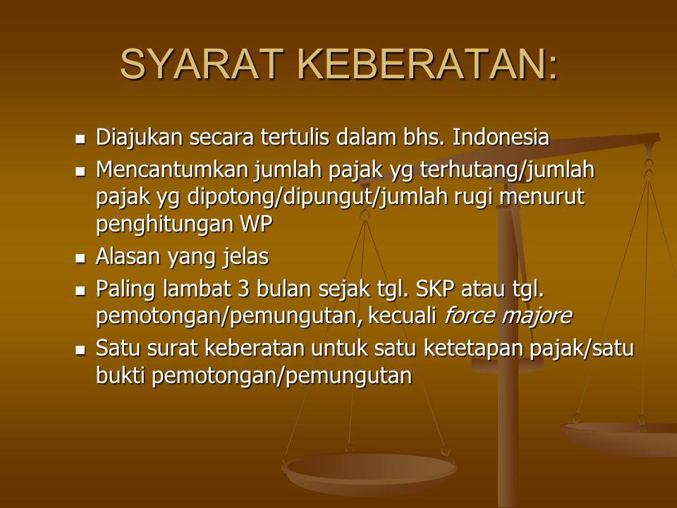 SYARAT KEBERATAN: Diajukan secara tertulis dalam bhs. Indonesia