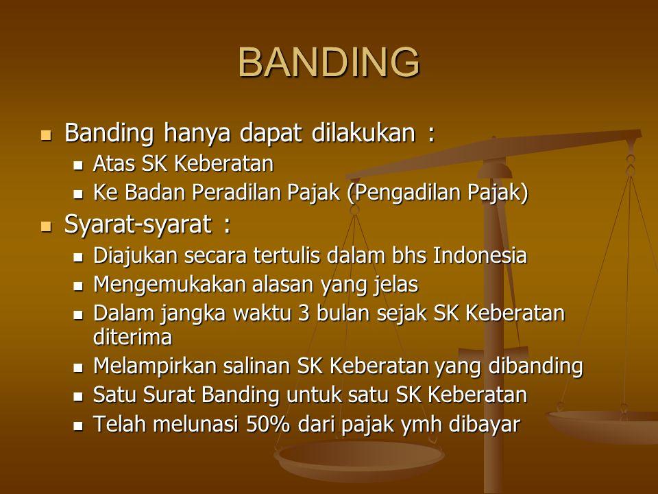 BANDING Banding hanya dapat dilakukan : Syarat-syarat :