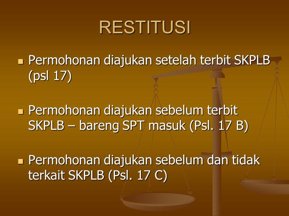 RESTITUSI Permohonan diajukan setelah terbit SKPLB (psl 17)
