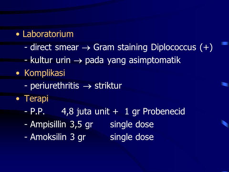 Laboratorium - direct smear  Gram staining Diplococcus (+) - kultur urin  pada yang asimptomatik.