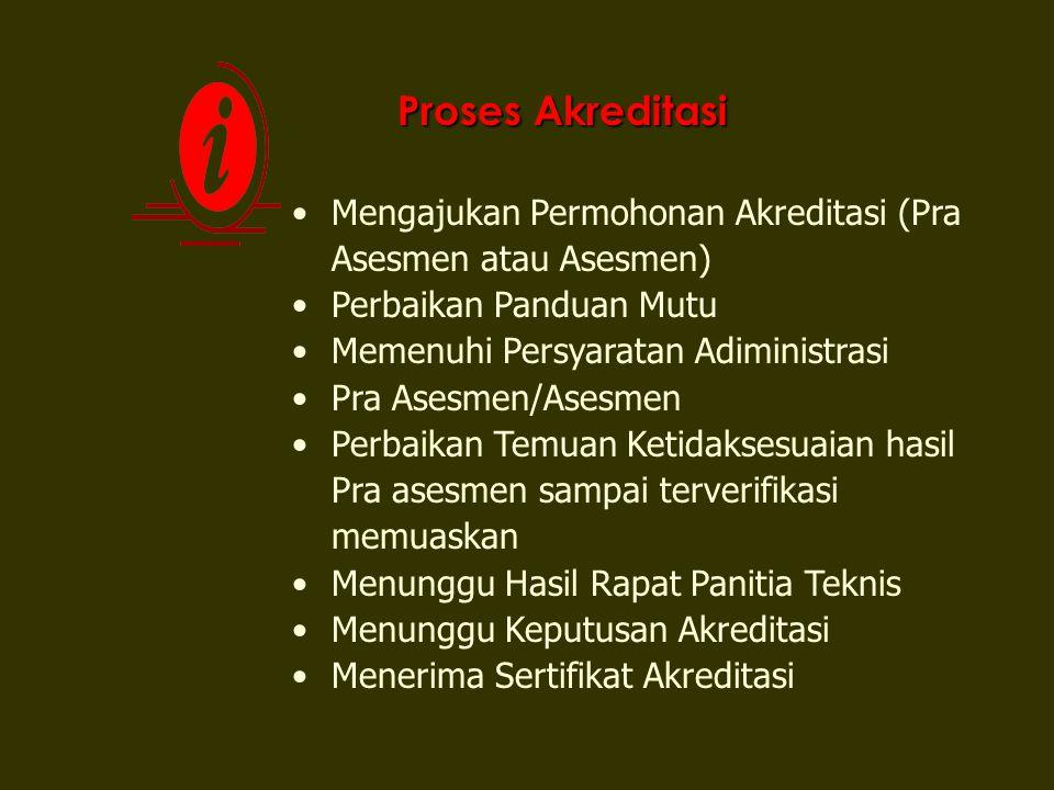 Proses Akreditasi Mengajukan Permohonan Akreditasi (Pra Asesmen atau Asesmen) Perbaikan Panduan Mutu.