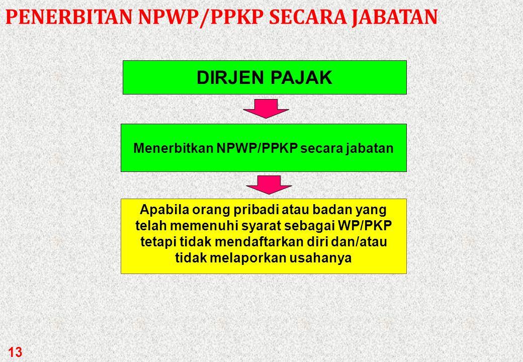 Menerbitkan NPWP/PPKP secara jabatan