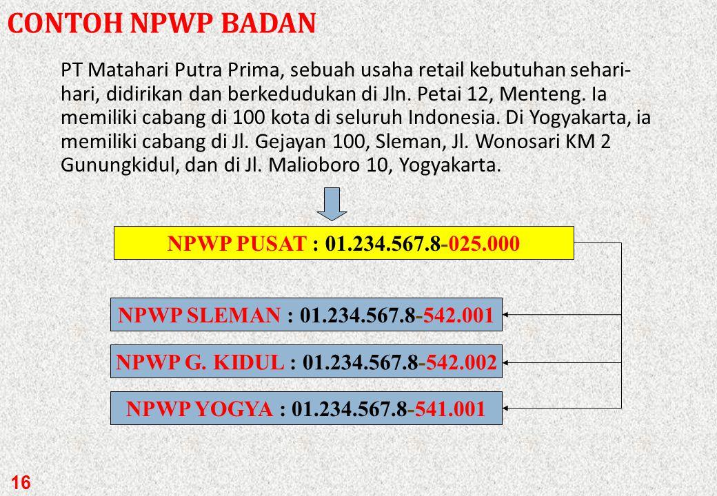 CONTOH NPWP BADAN
