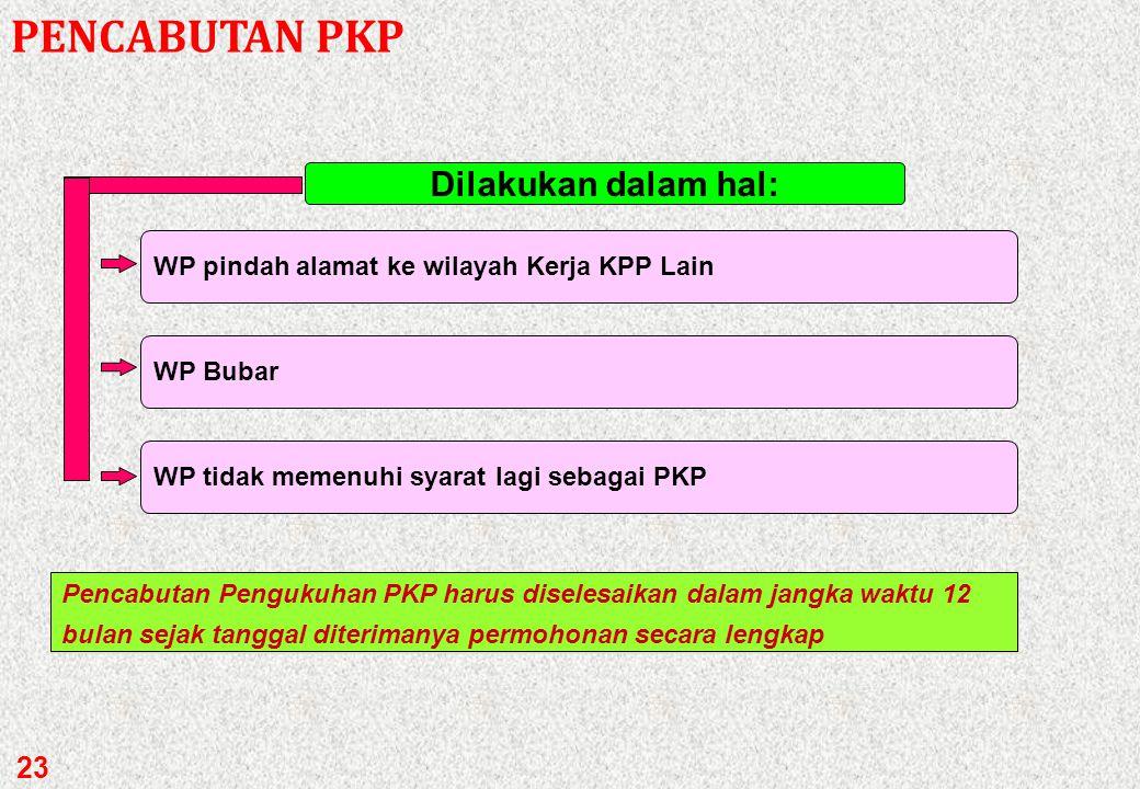 PENCABUTAN PKP Dilakukan dalam hal: