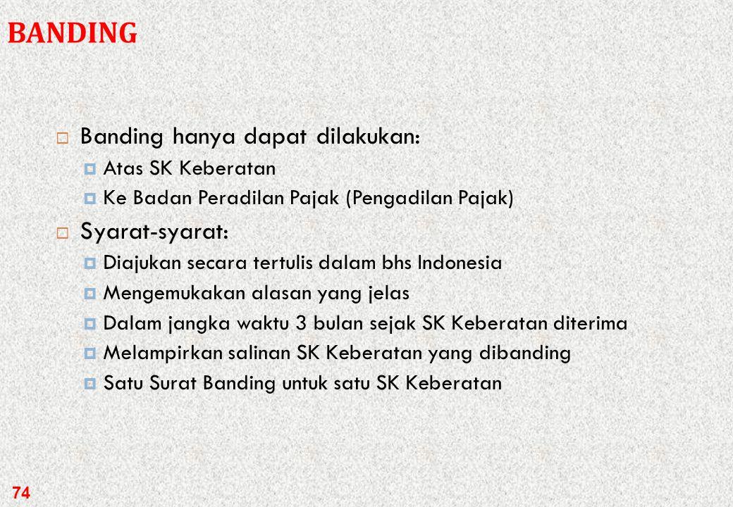 BANDING Banding hanya dapat dilakukan: Syarat-syarat: