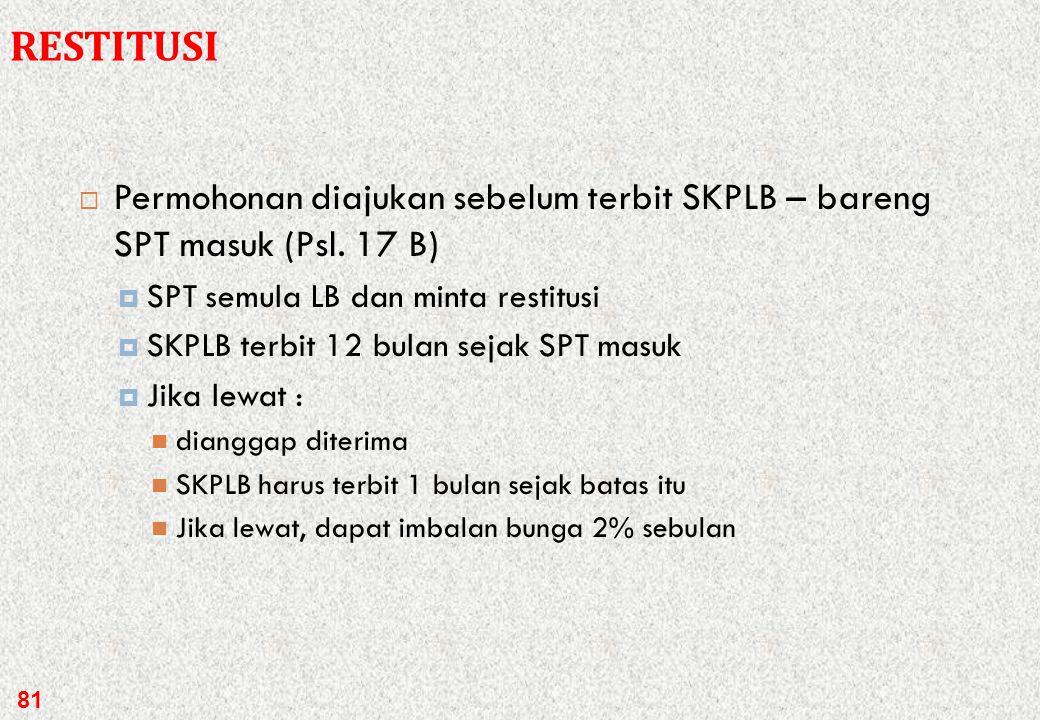 RESTITUSI Permohonan diajukan sebelum terbit SKPLB – bareng SPT masuk (Psl. 17 B) SPT semula LB dan minta restitusi.
