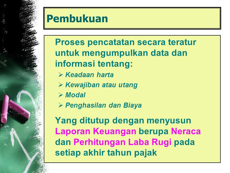 Pembukuan Proses pencatatan secara teratur untuk mengumpulkan data dan informasi tentang: Keadaan harta.