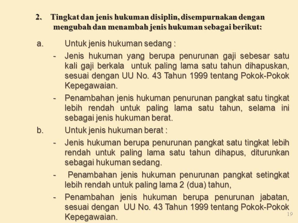 Tingkat dan jenis hukuman disiplin, disempurnakan dengan mengubah dan menambah jenis hukuman sebagai berikut: