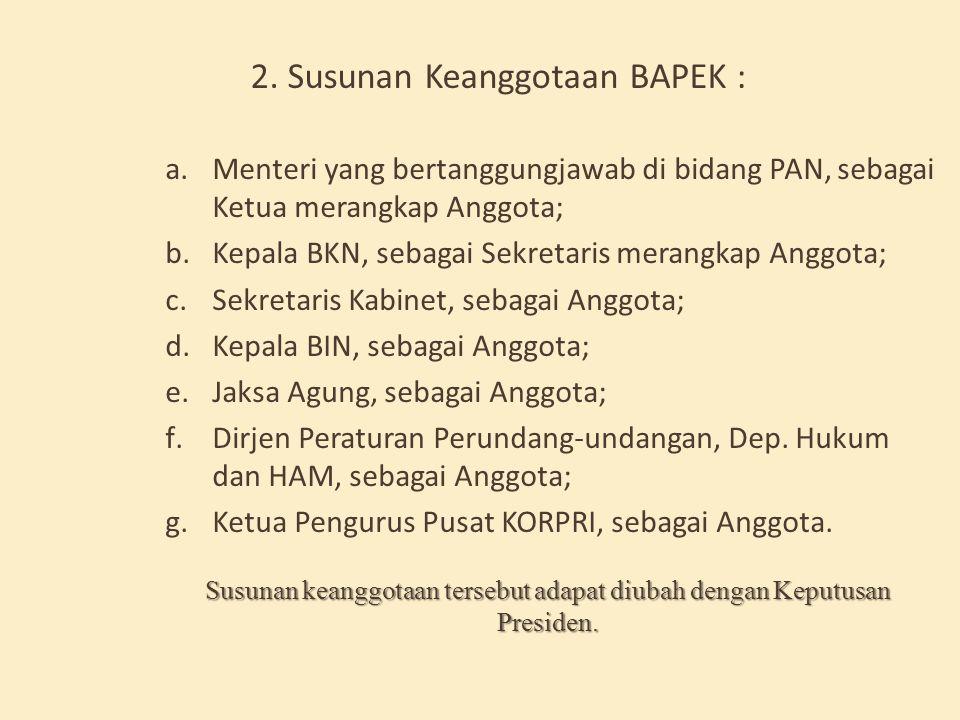 2. Susunan Keanggotaan BAPEK :