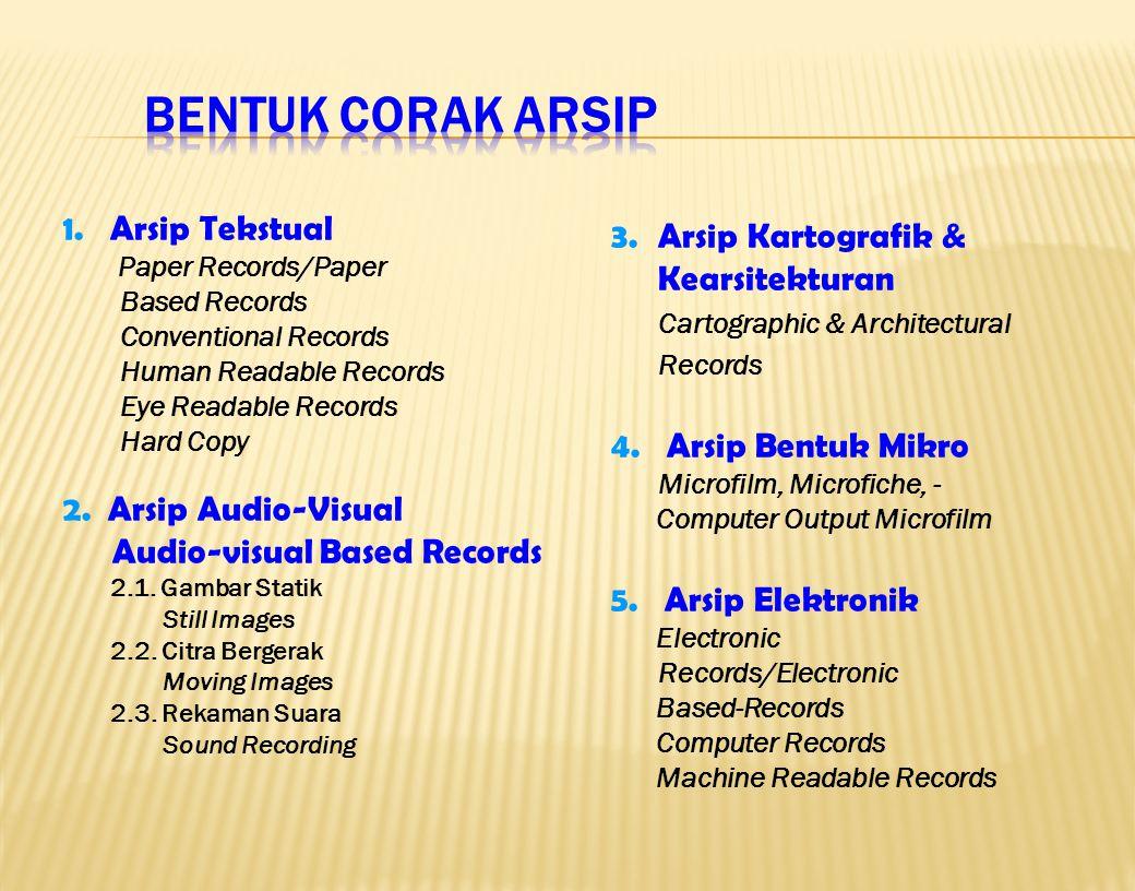 Bentuk Corak Arsip 1. Arsip Tekstual 2. Arsip Audio-Visual